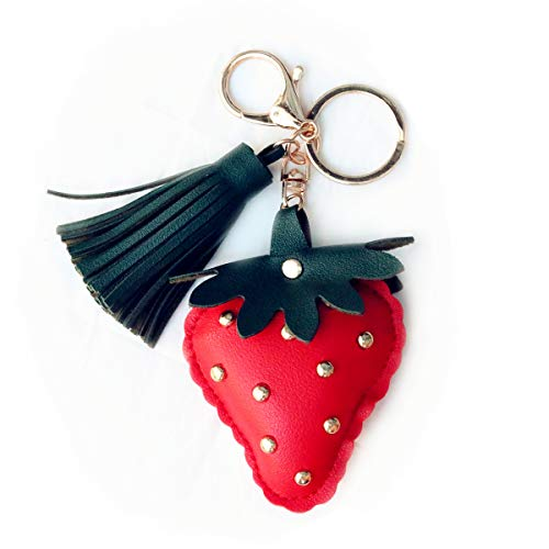 (MUAMAX Strawberry Keychains Key Ring Chain, Handmade Leather Key Holder Metal Chain Charm with Tassels Bag Purse Decorative Accessories)