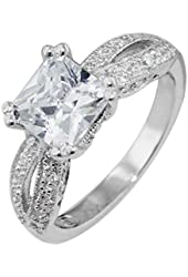 Sterling Silver Princess Cubic Zirconia Ring