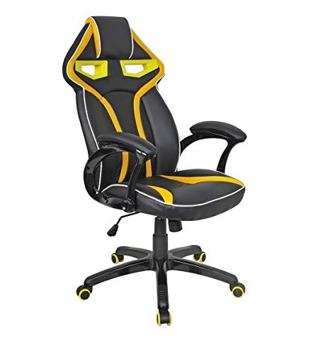41EAzvKSL6L - MD Group Gaming Chair Racing Bucket Seat Style High Back Yellow PU Fabric Mesh Large Load Capacity