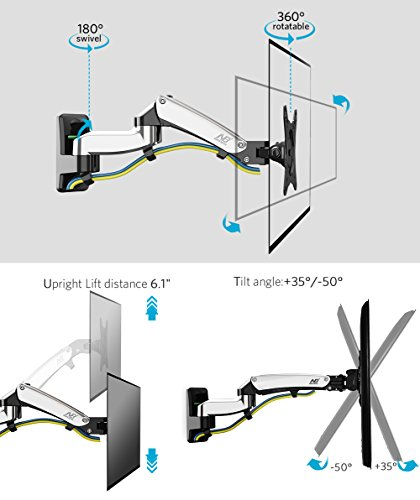 monitor wall mount arm tv wall mount bracket full motion swivel tilt for 17 27 single computer. Black Bedroom Furniture Sets. Home Design Ideas