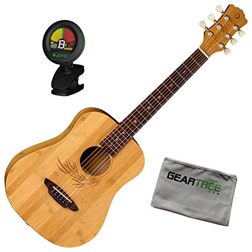 Luna Guitars SAF Safari Bamboo Travel (w/Bag) Acoustic Guitar w/Tuner and Cloth