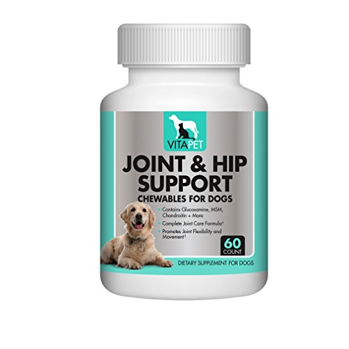 Vitapet Advanced Strength Joint and Hip Chewables with Glucosamine, Chondroitin, MSM, Vitamin C, Vitamin E, and Much More.