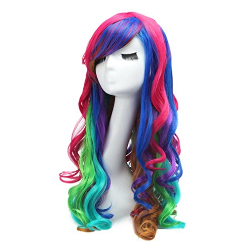 [Wigs,Hatop Long Rainbow Rock Spring Bouquet Harajuku Hair Curly Wig] (60s Girl Costumes)