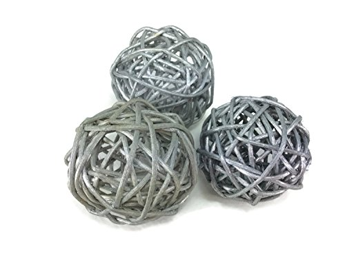 Rattan Ball Small Silver Craft Handmade Wedding Decorative Balls 3 Pieces (Scroll Wastebasket)
