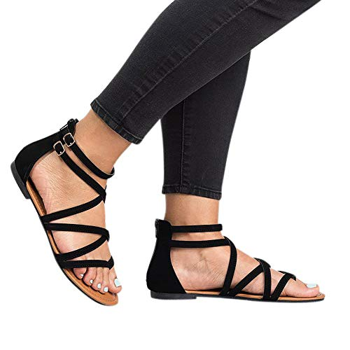 (Women Strappy Sandals Thong Cross Gladiator Flats with Double Buckle Strap)