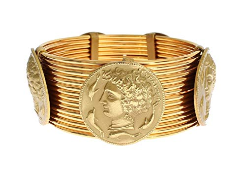 Dolce & Gabbana MONETE Gold Brass Sicily Coin Wide Bracelet (Bracelets Gabbana Gold Dolce)