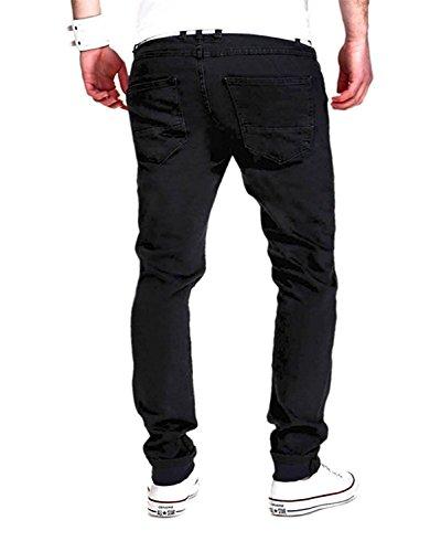 Minetom En Denim Pantalones Lagrimeo Agujeros Hombres Vaqueros Estilo Straight Negro El Delgado Rectos Deportes Verano AXPqArZ