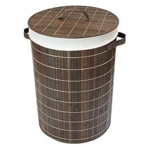 JVL - Cesto redondo de bambú para ropa sucia (35 x 50 cm, plegable, con forro interno extraíble), color marrón