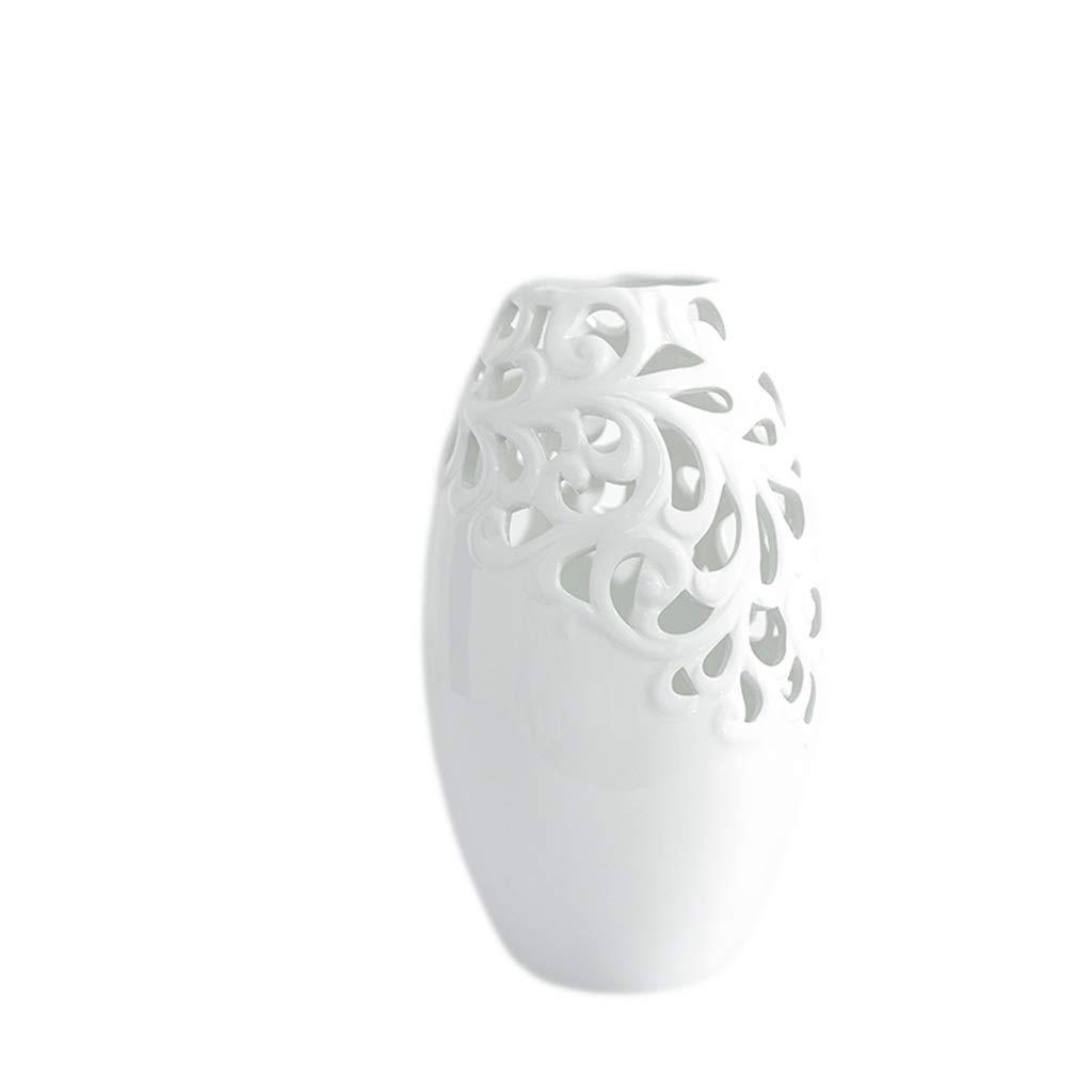 MAHONGQING 花瓶現代のミニマリスト北欧ホームクリエイティブ花瓶装飾リビングルームフラワーアレンジメントデスクトップポーチダイニングテーブル中空セラミック装飾品 (Size : S) B07RTPCVX1  Small