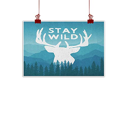 warmfamily Wall Painting Prints Adventure,Wilderness Themed Stay Wild Quote with Scenic Mountain Backdrop Forest, Baby Blue Dark Blue 24