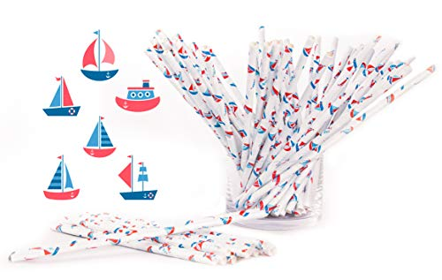 Paper Straws, Little Boats Design Red, White and Blue, Perfect for Birthday Party, Baby Shower, Events, Restaurants, Bars, Food Trucks, Pack of 100 Biodegradable Eco-Friendly Straws by LOSTRONAUT