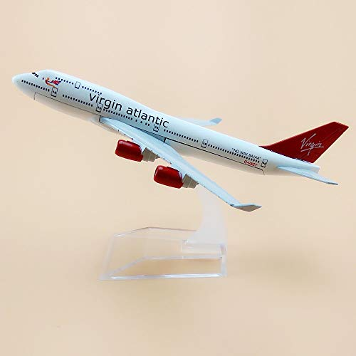 ZAMTAC 16cm Metal Air British Virgin Atlantic Airways Boeing 747 400 B747 Airline Plane Model Airplane Model w Stand - Aircraft Atlantic Models