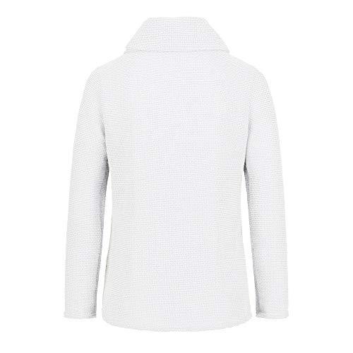 Femme Manches Longue Pull Femmes Fille Haut Sweatshirt Taille Bouton Grande Chemise White Longues Manche Jutoo À Des Blouses wPFCq5