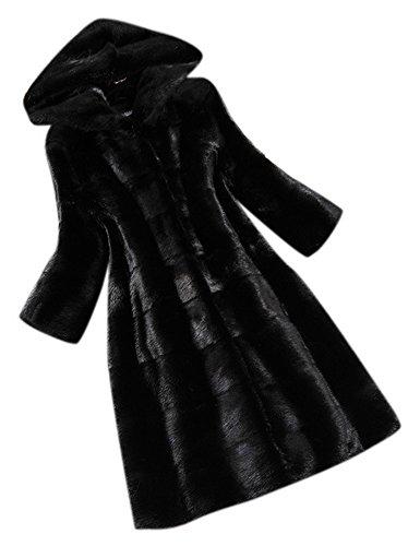 Youtobin Women's Long Sleeve Hood Pocket Faux Mink Fur Long Coat Overcoat One Size Black - Black Mink Jacket