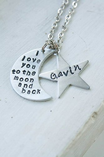 2bcd172851 I love you to the moon and back hand stamped necklace with name stars,  personalized mom jewelry, mother's day, christmas, birthday gift, custom  present