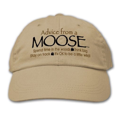 (Advice from a Moose - Embroidered Khaki Hat, by Earth Sun Moon)