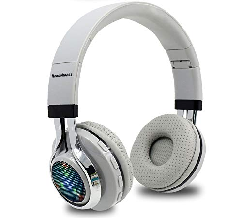 Amazon.com: Glowing Stereo Casque Audio Bluetooth Headphone Wireless Big Headset Sport Earphone Mic LED Light TF FM for PC Phone,Grey: Home Audio & Theater
