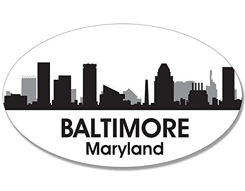MAGNET Oval B/W SKYLINE of BALTIMORE Magnetic Sticker (city maryland)