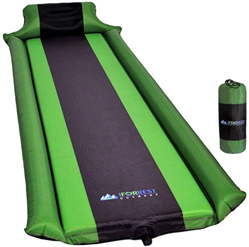 Sleeping Pad with Armrest Support and Pillow - Ultra-Comfortable Self-Inflating Camping Foam Mattress - Inflatable Camp Air Bed Mat - Ideal for Hiking, Backpacking, Cot, Hammock, and Tent! (Green)