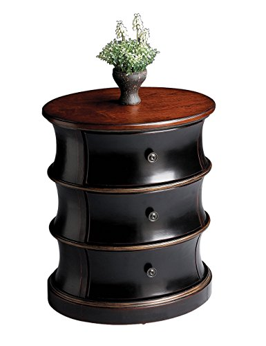 - Home Decorative Handpainted Hardwood Cafe Noir Light Oval Drum Table with 3 Drawers