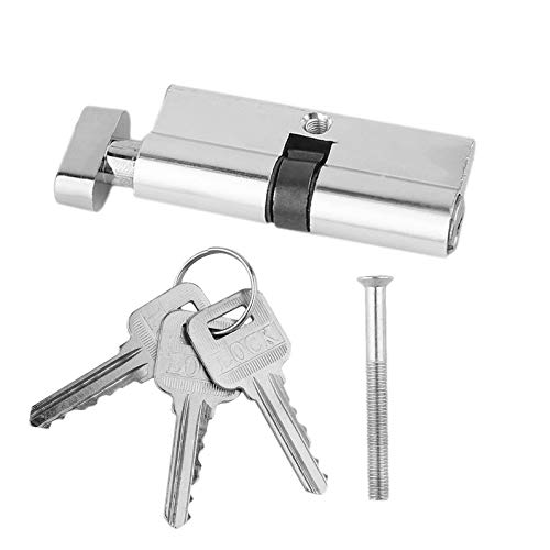 KEKJORY 70mm Aluminum Door Lock Cylinder Home Security Anti-Snap 3 Keys Silver Tone