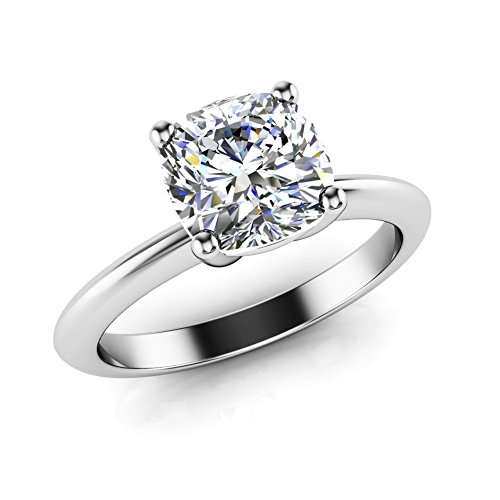 0.75 ct Ladies Round Cut Cathedral Solitaire Engagement Diamond Ring ( Color G Clarity SI1) 18 kt White Gold In Size 3.5 3/4 Carat Round Cut Cathedral