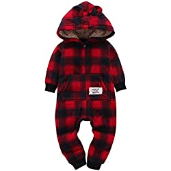 Sharemen Baby Boys Girls Thicker Grid Jumpsuit Hoodie Romper Outfit Bodysuit (0-6 Months, Wine)