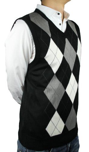 Blue Ocean Men's Ocean Argyle V-Neck Sweater Vest