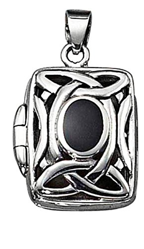 Sterling Silver Girls 20'' .8mm Box Chain Celtic Locket Pendant Necklace Black Onyx by Auntie's Treasures