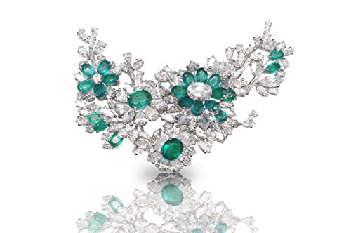 Adastra Jewelry 925 Sterling Silver brooch pin cluster ELIZABETH TAYLOR inspired vintage style 4 inches green white pear handmade AAAAA grade CZ