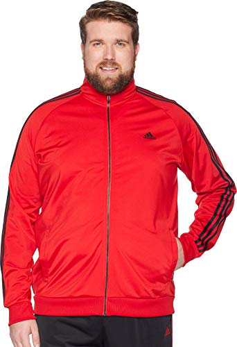 adidas Men's Big & Tall Essentials 3-Stripes Tricot Track Jacket Scarlet/Black Large