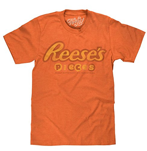 Tee Luv Reese's Pieces T-Shirt - Reeses Peanut Butter Candy Logo Shirt (X-Large) Orange Heather -