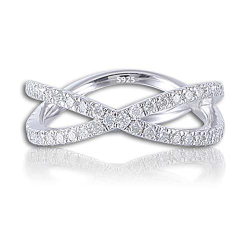 Moissanite Platinum Eternity Ring Band - DovEggs Platinum Plated Silver 0.6CTW 6mm Band Width Moissanite Eternity Engagement Ring Wedding Band for Women (8)