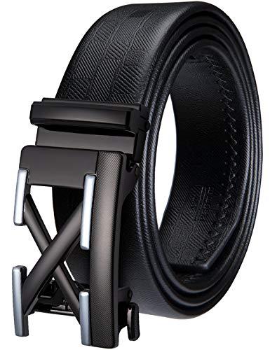 Mens Novelty Buckle Belt,Genuine Leather Ratchet Belt Black Big and Tall Mens Belt(51.2'',130cm)