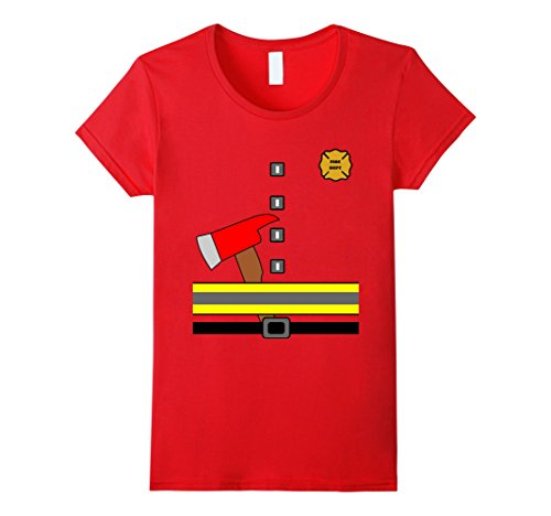 Womens Fireman Uniform Costume T Shirt With Axe Medium Red