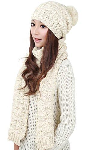 Winter Women Scarf Hat Set Knitted Skullcaps White - 8