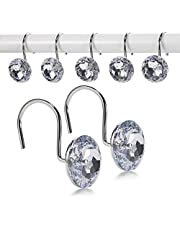 Goowin 12 Pcs Shower Curtain Hooks, Acrylic Crystal Shower Curtain Rings, Rust-Resistant Smooth Sliding Shower Hooks Rings for Decorating & Shower Curtains (Crystal White)