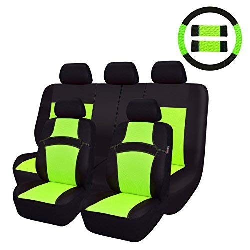 CAR PASS Rainbow Universal Fit Car Seat Cover -100% Breathable with 5mm Composite Sponge Inside,Airbag Compatible(14PCS, Extreme Green) ()
