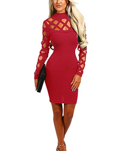 Wuxh Women's Sexy Long Sleeve Hollow Out Cocktail Clubwear Party Mini Bandage Bodycon Dress (X-Large, Wine Red)