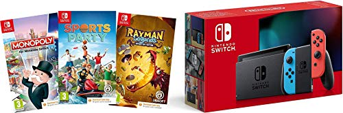 Nintendo Switch Neon (Red/Blue) + Sports Party (Code in Box) + Rayman Legends (Code in Box) + Monopoly (Code In Box)