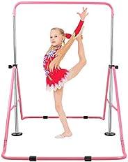 Gymnastics Training Bar for Kids, Expandable Kip Bar 4 Adjustable Height Folding Training Monkey Bars Horizont