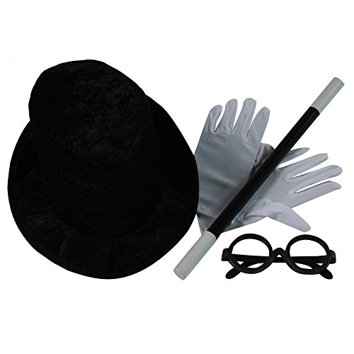 Kids Basic Wizard Magician Top Hat, Gloves, Wand and Glasses (Magicians Hat And Wand)