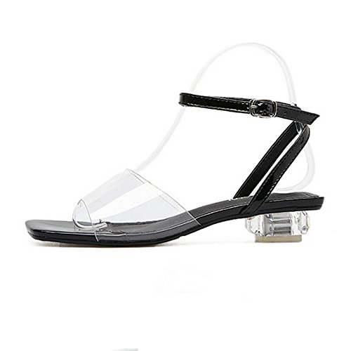 Strap Dress Sandals Clear Chunky Womens Low Ankle Heel Block Lucite Black CYBLING q86zv