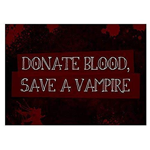 TGDB Donate Blood Save A Vampire Print Blood Splatter Picture Fun Scary Humor Halloween Seasonal Decoration Sign -