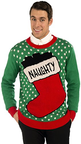 Forum Novelties Naughty Stocking Novelty Christmas Sweater, Multi, -