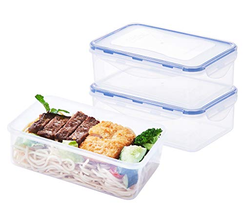 [3 Pack] Airtight Food Storage Containers, Meal Prep Containers with Snap Locking Lids, 38.9oz/1150ml/4.7cup, Bento Lunch Containers BPA Free Plastic (Food Storage Containers Bap Free)
