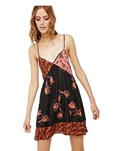 Abito colore abito Nero Oudan stile Europeo Floreale Femminile L Dimensione 6d4ww8qT