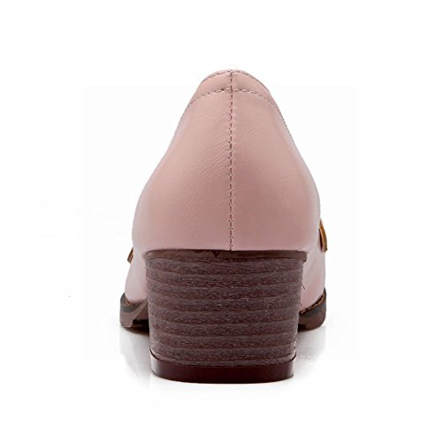 Show Shine Womens Fashion Sweet Chunky Heel Shoes Pink