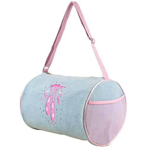 Girls Denim Duffel Bag with Embroidered Ballet Shoe and Rhinestone