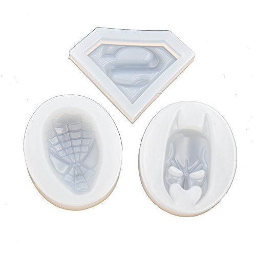 3pieces Pack Super Hero Silicone Mold for Jewelry Pendant Charms Making DIY Resin Casting Mould